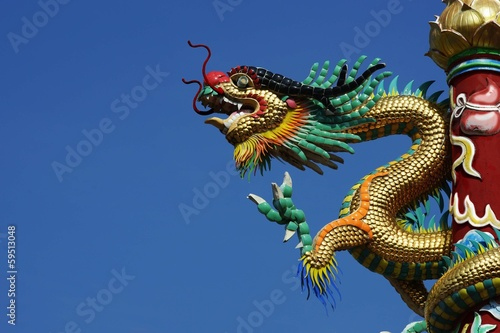 Chinese Dragon Sculpture at Chinese Temple Poster