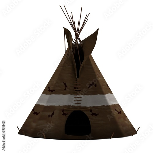 Photo realistic 3d render of teepee