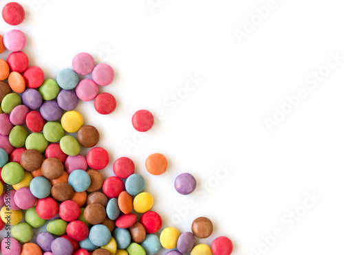 Keuken foto achterwand Snoepjes Smarties in corner, white background