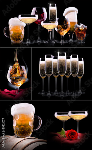 Canvas Prints Bar set with different drinks on black background