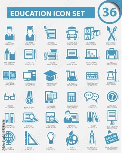 Fototapeta Education icon set,vector obraz na płótnie