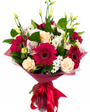Bouquet Of Rose, Gerbera And Orchid Flowers Isolated On White Background