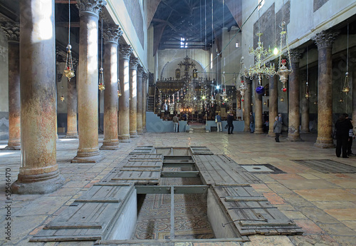 Fotografie, Obraz Interior of the Church of the Nativity in Bethlehem, Israel