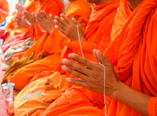 Pray, The Monks And Religious Rituals In Thai Ceremony