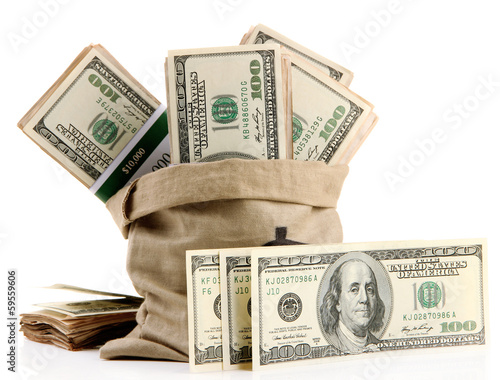Fototapeta Money in  bag isolated on white obraz