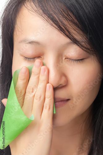 Fotografía  Woman with oily skin