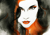 Beautiful woman.  Hand painted fashion illustration