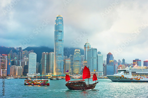 Spoed Foto op Canvas Hong-Kong Victoria harbor