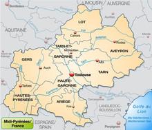 Midi-Pyrénées Mit Grenzen In Pastelorange