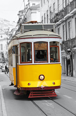 Old yellow tram in Lisbon