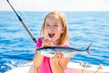 Blond Kid Girl Fishing Tuna Li...