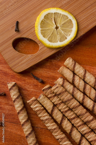 Fotografie, Obraz  Rolled waffles