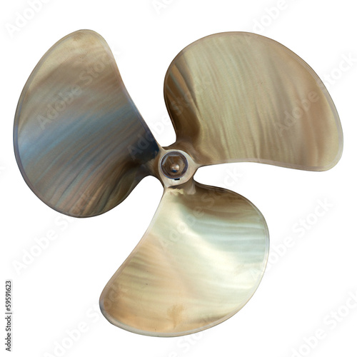 Fotomural three-bladed propeller. Isolated over white