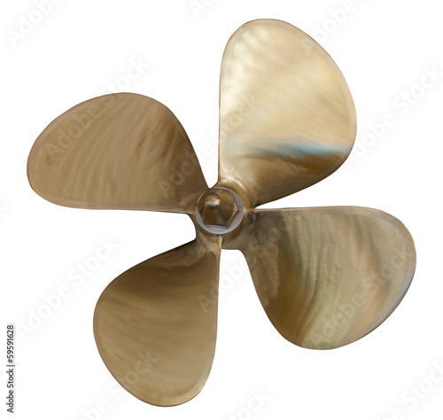 four-bladed propeller over white Canvas Print