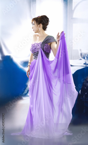 Garden Poster Fairytale World beautiful woman in bright purple wedding dress posing