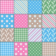 Seamless Retro Pattern - Square Patchwork Texture