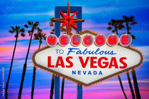 Poster Las Vegas Welcome Fabulous Las Vegas sign sunset palm trees Nevada