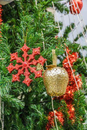 Garden Poster Roe Beautiful color christmas decorations hanging on christmas tree