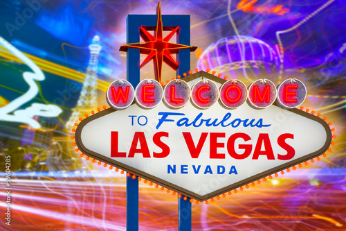 Foto op Canvas Las Vegas Welcome to Fabulous Las Vegas sign sunset with Strip