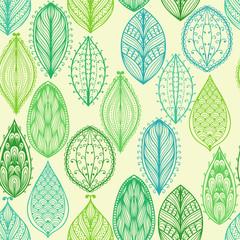 fototapeta wzór z zielonymi liśćmi ozdobnymi