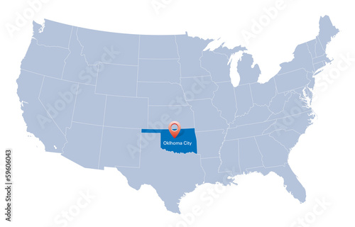 map of USA with the indication of State of Oklahoma – kaufen ...