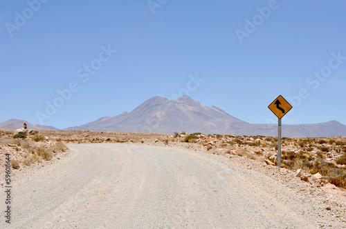 Cadres-photo bureau Amérique du Sud Gravel road in Atacama desert (Chile)