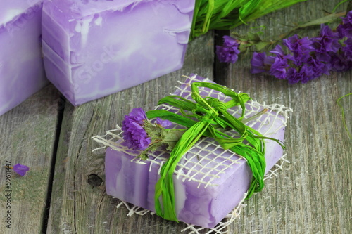 Garden Poster Òhree bars of hand made natural soap