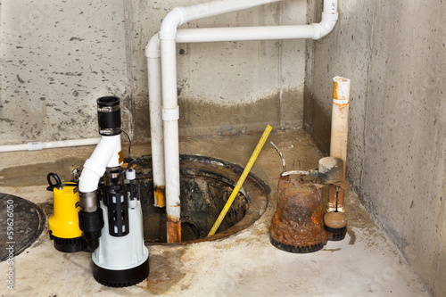 Fotografie, Obraz  Replacing the old sump pump in a basement
