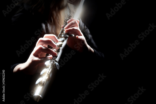 Door stickers Music Flute music instrument flutist playing