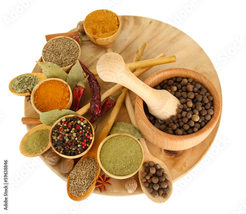 Spoed Foto op Canvas Kruiden 2 wooden mortar, bowls and spoons with spices isolated on white
