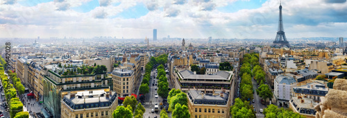 Spoed Foto op Canvas Parijs View of Paris from the Arc de Triomphe. .Paris. France.