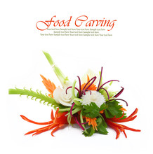 Creative Bouquet Made Of Fruits And Vegetables Isolated