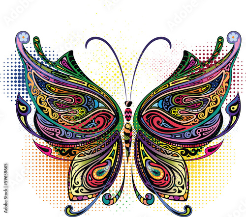 Aluminium Prints Butterflies in Grunge Variegated butterfly I