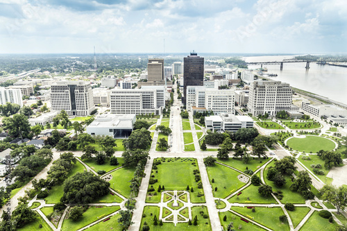 aerial of baton Rouge with Huey Long statue and skyline