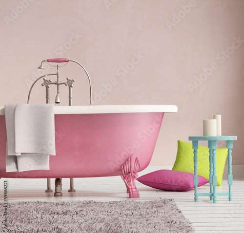 Fotomural Classic pink bathtub with a stool and aged wood floor