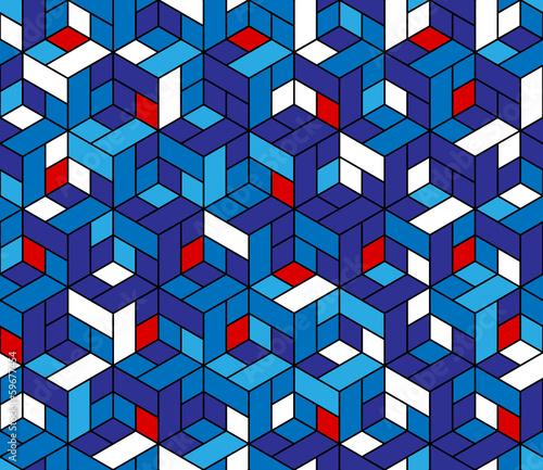 Fotografie, Obraz Seamless geometric pattern with cubes.
