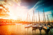 canvas print picture - yachts at sunset