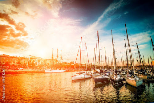 yachts at sunset