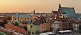 Fototapeta Miasto - The old town at sunset. Warsaw, Poland -Stitched Panorama
