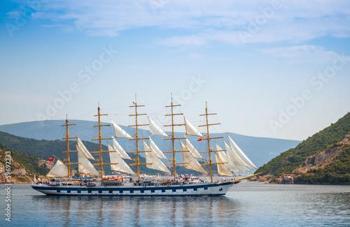 Canvas Prints Ship Big sailing ship goes on the water of Kotor Bay