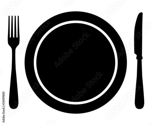 Canvastavla Fork, knife and plate