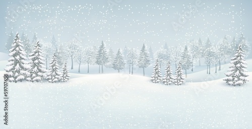 Fotobehang Wit Christmas winter landscape background. Vector.