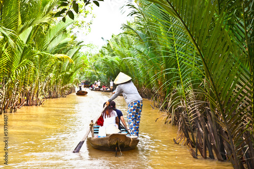 Photo  A famous tourist destination is  Ben Tre village  in Mekong delt
