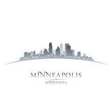 Minneapolis Minnesota City Skyline Silhouette White Background
