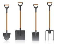 Garden Tool Shovel And Pitchfork Vector Illustration