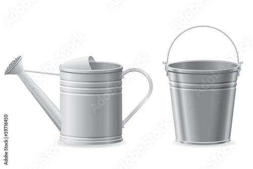 Fototapeta metal watering can and bucket vector illustration