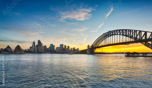 Papiers peints Sydney Dramatic panoramic sunset photo Sydney harbor