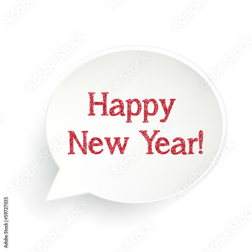 Happy New Year Speech Bubble Sign - Buy this stock illustration and ...