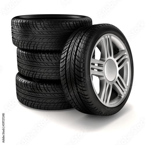 Fotografía  3d tire and alloy wheel