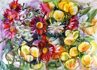 Obraz na Szkle Style Still life a bouquet of flowers. Hand-drawn in watercolor